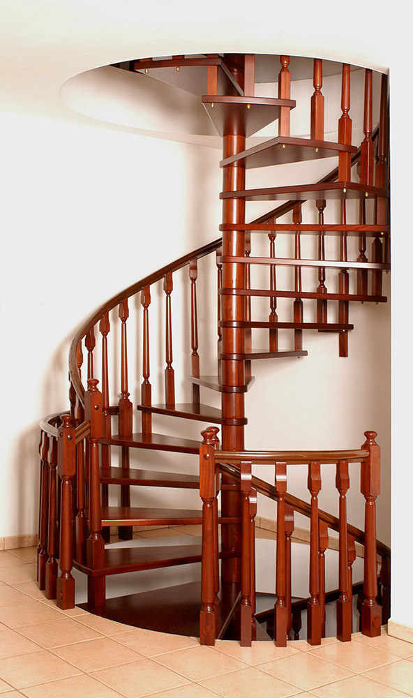 Spiral staircase handcrafted wood