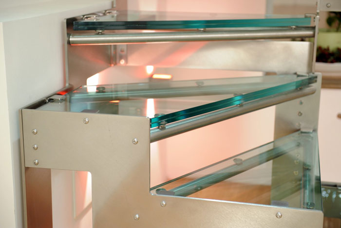 Hidra glass- detail treads in tempered unbreakable crystal and steel Aisi 304