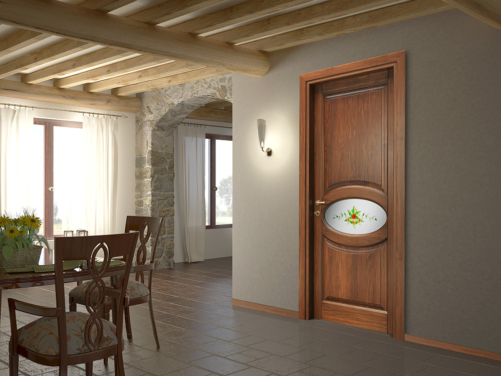 Porta Matera finitura toulipier , con vetro satinato bianco decorato